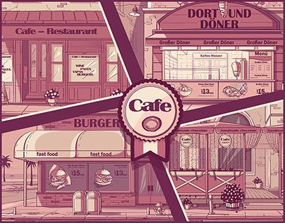 Set of vector background cafes