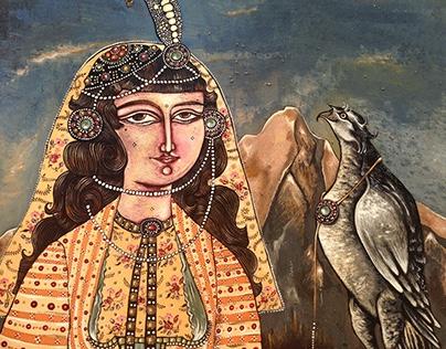 _ lady falconer egg paint on wood