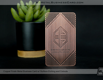 Etched Copper Business Card with Custom Cutouts