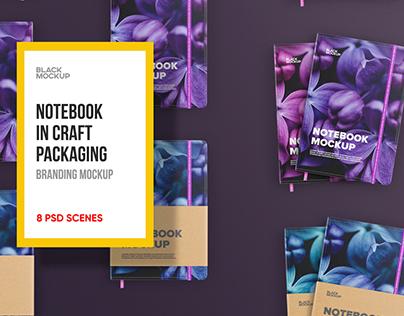 Notebook in craft packaging Mockup