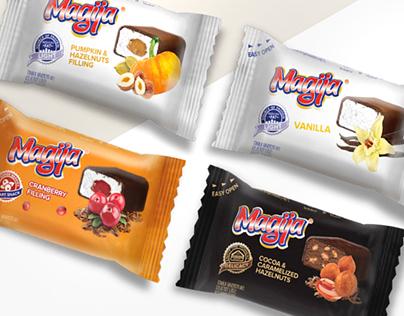 Magija brand curd cheese dessert package design.