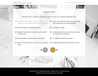 Your Brand Style Quiz Design and UI
