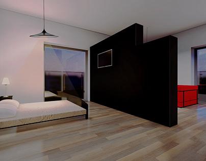 interior design of apartments in a small hotel