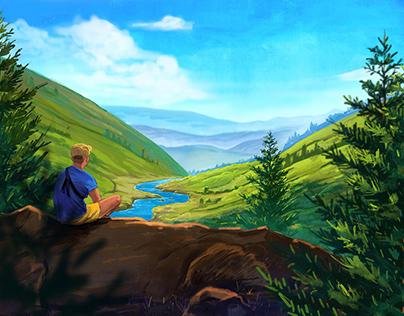 Mountains landscape, drawing process