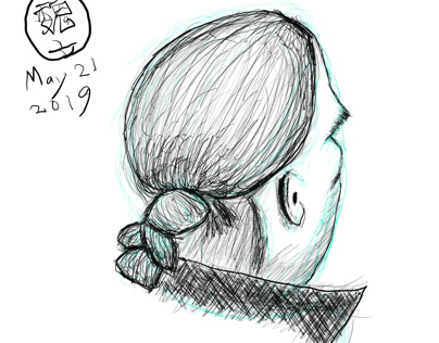 Quick sketch of a back head