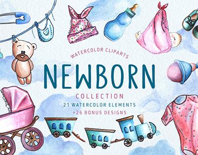 Set of hand drawn watercolor baby-themed illustrations