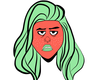 OC sticker: grumpy strawberry gal