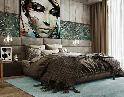 Bedroom in a modern house