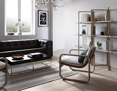 Living Room with Gold Highlights