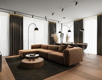 Modern apartments interior design Visualization (CGI)