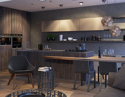 Livingroom-kitchen interior visualizations