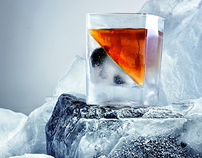 Whiskey on iceberg.Creative advertisng whiskey in arcti