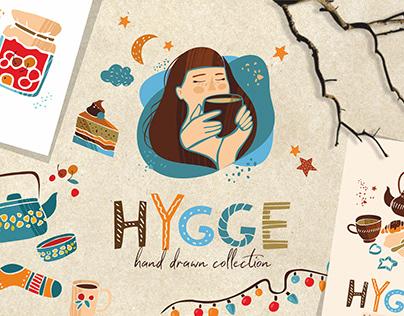 Hygge symbols hand drawn illustration