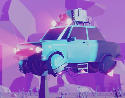 Flying Old Car Scene
