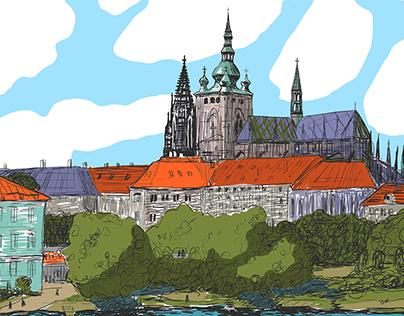 Prague landscape drawing timelapse