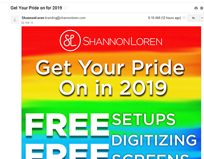 Promotional Pride Products Email