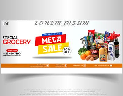 Facebook Cover Design Banner (GROCERY MEGA SALE)