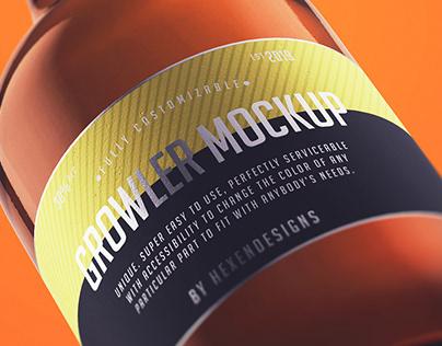 Growler Bottle Mockup+Free Version