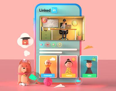 LinkedIn - 3D Fun UI Illustration