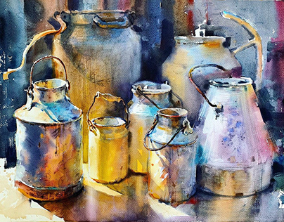Watercolor Metal Milk Can