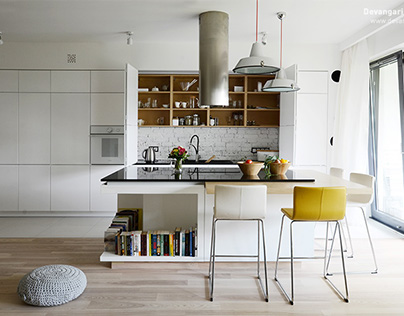 Scandinavian apartment with vibrant colours