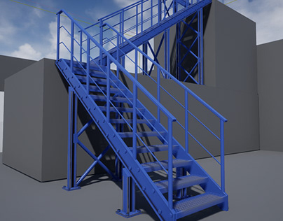 WIP - Parametric industrial iron staircase for UE4