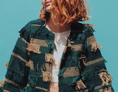 Hand Woven Jacket: Monochromatic Fringe Series