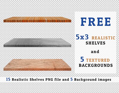 Freebie 5x3 PNG Realistic Shelves and 5 Background Set3