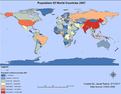 Density of World Population in 2007 breakdown by countr