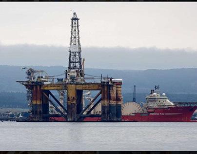 Underneath oil rig