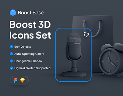 Boost Base 3D Icons Set
