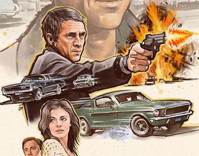 Bullitt alternative movie poster illustration