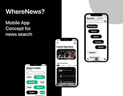 WhereNews news App UI/UX