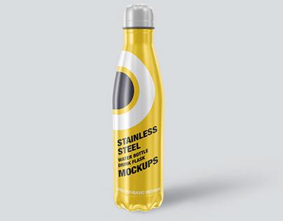 Stainless Steel Water Bottle Mockups