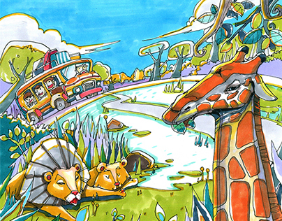 Safari and Ocean illustration