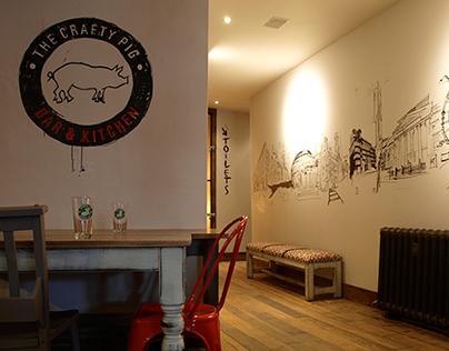 The Crafty Pig: Bar mural and logo illustration