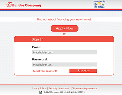 Builder's Mortgage Application