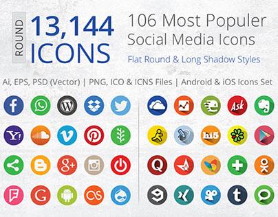 212 Flat Round Social Media Icons