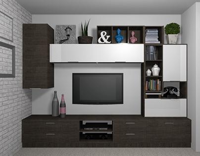 Entertainment Center- Brown Wood + Shine White Acrylate