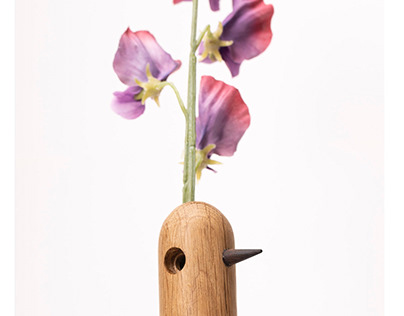 Wooden Bird Vases