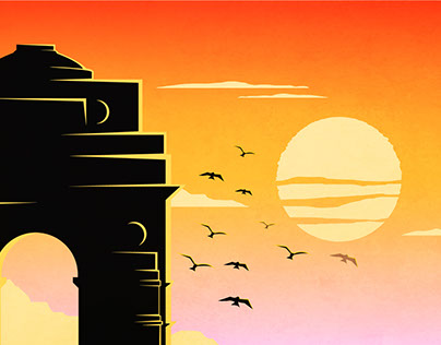 Monuments of India Silhouette Landscapes