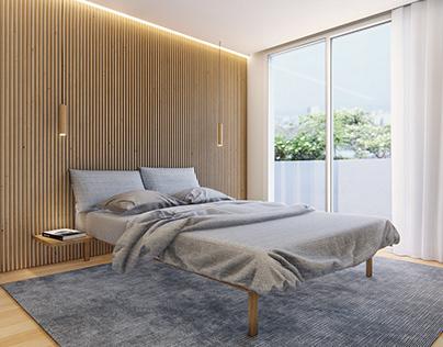 3D minimalist bedroom