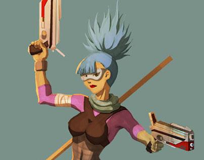 Cyber punk female warrior