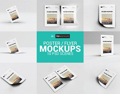 Poster/Flyer Mockups - 10 PSD Scenes