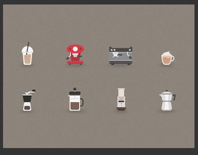 Flat coffee icons