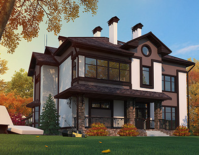 Architectural visualization of a country house