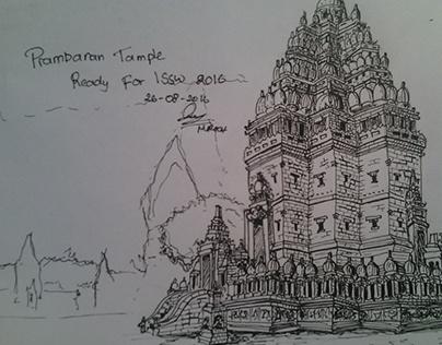 prambanan ink sketch