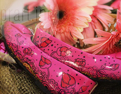 flowery Girly_hand painted customized illustrated shoes