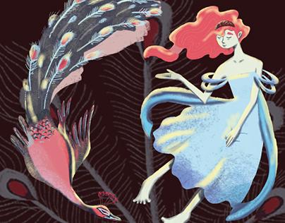 Ilustração - O Pavão e Juno(Fábula de Esopo)