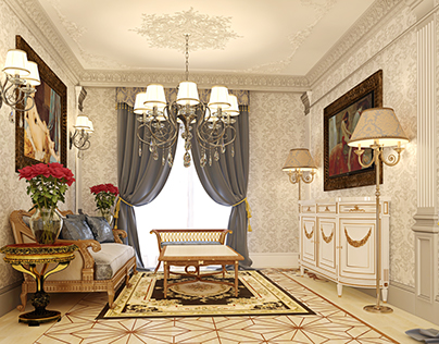 Classic luxury home, interior 3D visualization